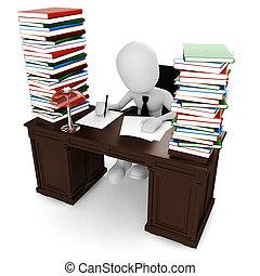 3d, assento homem, em, seu, escrivaninha, trabalhando