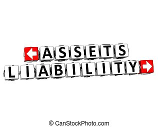3D Assets Liability Button Click Here Block Text over white...