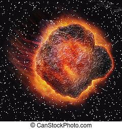 3d, astéroïde, espace