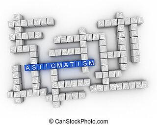 3d, astigmatismo, concepto, palabra, nube
