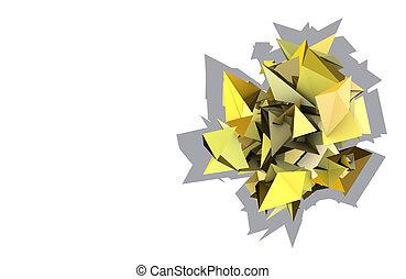 3d, astratto, giallo, armato punte, elettrico, forma