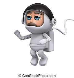 3d, astronauta, flotadores, en, espacio
