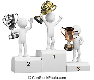 3D athletes on the podium of winners. Rendered at high ...