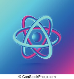 3D Atom Structure. Vector illustration