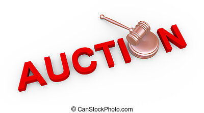 3d auction and gavel - 3d render of wooden gavel and word...