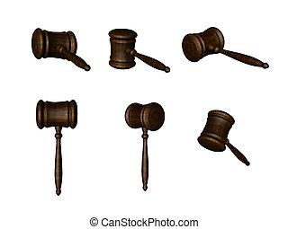 3D Auction hammers - 3d rendered auction/court hammers....