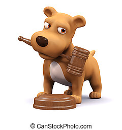 3d Auctioneer puppy - 3d render of a dog with a gavel in his...