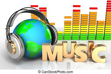 3d audio spectrum music sign - 3d illustration of earth in...