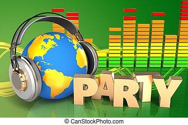 3d audio spectrum party sign - 3d illustration of world in...