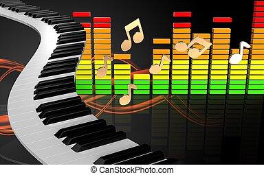 3d audio spectrum piano keys