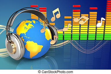 3d audio spectrum world in headphones - 3d illustration of...
