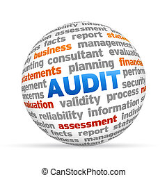 Audit - 3d Audit Word Sphere on white background.