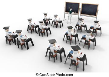 3d, aula, con, insegnante, e, alunni