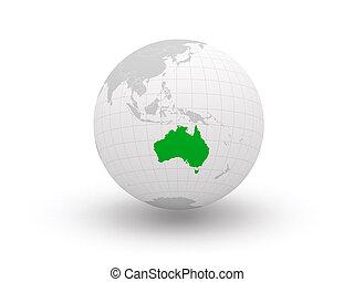 3d., australia., globe.