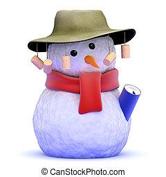 3d Australian snowman - 3d render of a snowman wearing an ...