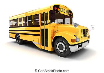 3d, autobus école, blanc, fond