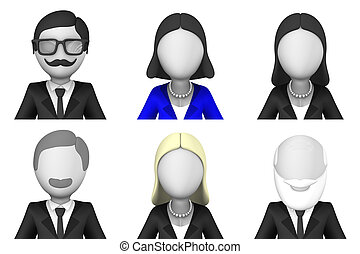 3d avatars of business people