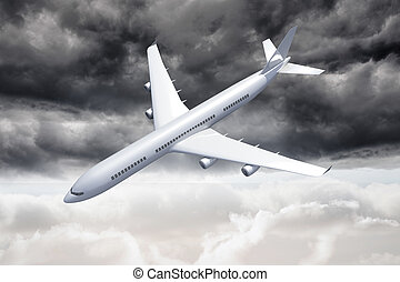 3d, avião, desabando, a, céu