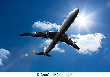 3d, avião, voando, em, a, céu