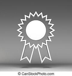 3d award ribbon rosette icon