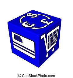 3d, azul, cubo, caja, tela
