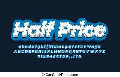 3d, azul, diseño, precio, anuncios, mitad