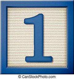 3d, azul, número, bloco, 1