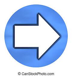 3D Azure Arrow Button