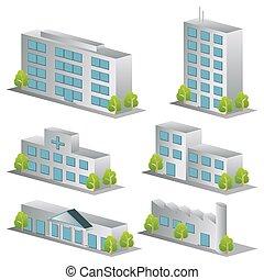 3d, bâtiment, icônes, ensemble