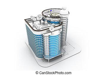 3d, bâtiment, render