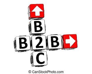 3D B2B B2C Crossword on white background