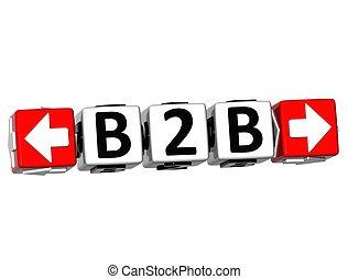 3D B2B Button Click Here Block Text