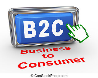 3d b2c - business to consumer button