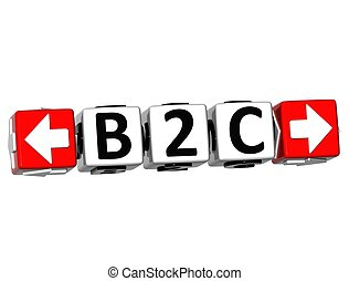 3D B2C Button Click Here Block Text