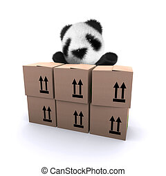 3d Baby panda bear behind cardboard boxes - 3d render of a...