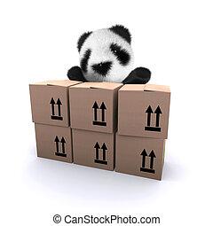 3d Baby panda bear behind cardboard boxes - 3d render of a...