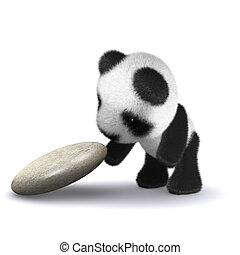 3d render of a panda lifting up a rock