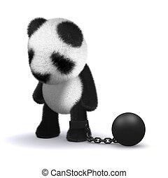 3d Baby Panda is held back