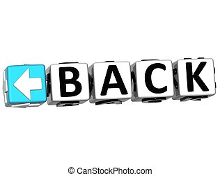 3D Back Navigation Button cube text