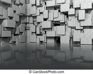 3D Model for website background, with washed concrete cubic blocks reflected in shiny floor