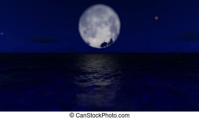 3D background, Night Sea With Full Moon