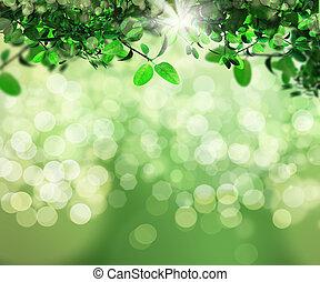 3D background of leaves on bokeh light background