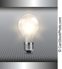 3D background with light bulb illuminated, vector.