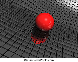 3d background with red ball and black mirrors