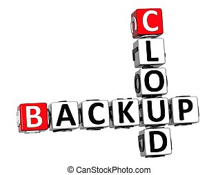 3D Backup Cloud Crossword cube words on white background