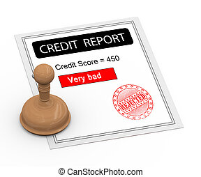 3d bad credit score report - 3d Illustration of rubber stamp...