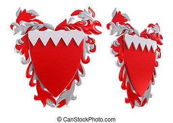 3D Bahrain coat of arms. White background.