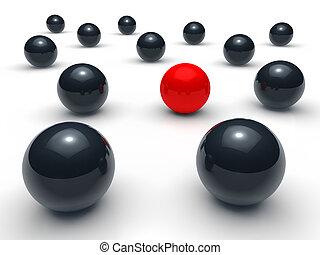 3d ball network red black sphere team