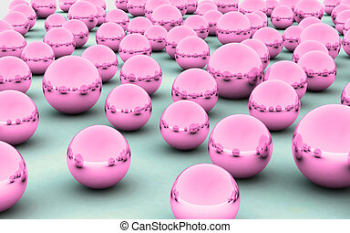 3D ball pink metal reflection