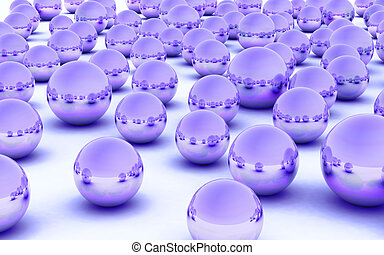 3D ball purple metal glass